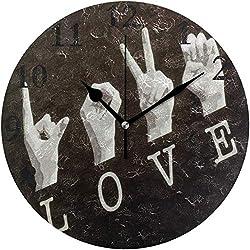 Lmlfes American Sign Language Silent Non Ticking Round Acrylic Wall Clock Home Office School Decorative Clock Art OneSize