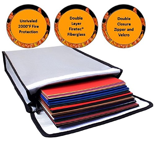 Fire Rated Gun Safe (Fireproof Bag 2000°F Document Holder Waterproof Bag - Peace of Mind Security - Foldable for Fire Safe Box or Grab n Go Organizer for Money Battery Cash Legal Passport (15