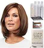 Bundle - 8 items: Cameron Petite Wig by Jon Renau, Christy's Wigs Q & A Booklet, 2oz Travel Size Wig Shampoo, Conditioning Spray, Flexible Spray, HD Smooth, Wide Tooth Comb & Wig Cap - Color: 8RH14