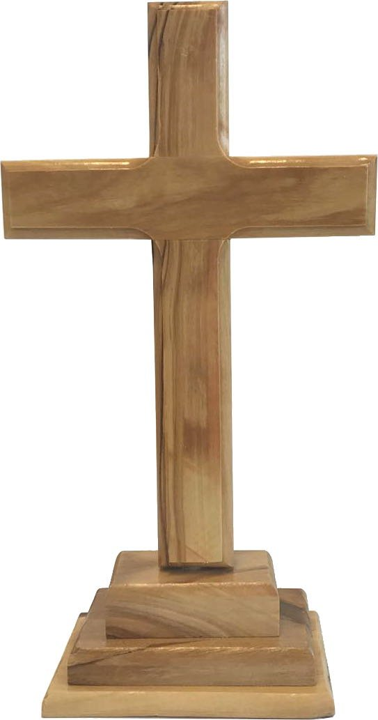 Holy Land Market Standing or Table Altar Olive Wood Cross (8 Inches Standing)