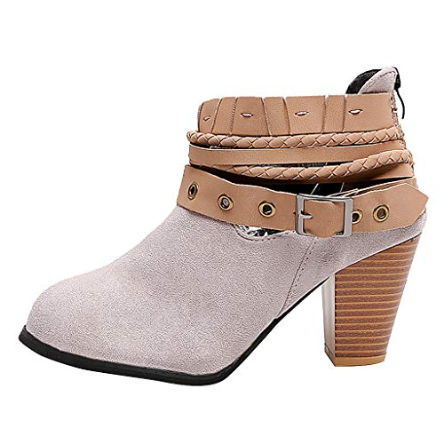 SUNyongsh Sexy Party Shoes Fashion Women Wedding Rivet Buckle Heel Autumn Shoes Boots Ankle Boot ()