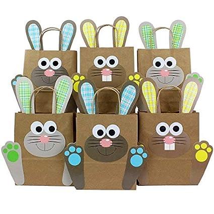 Papierdrachen Bolsas de Regalo DIY Pascua con Conejo de Pascua Amarillo Azul Verde para Rellenar tú Mismo - para Envolver Regalos para niños y Adultos
