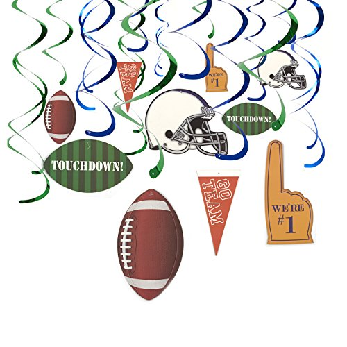 30-Count Hanging Decorations - Football Party Supplies, Hanging Whirl Streamers, Football Game Day Decorations, Sports-Themed Party Decor, Includes 15 Assorted Cutouts, 36.5 to 38.5 inches in Length