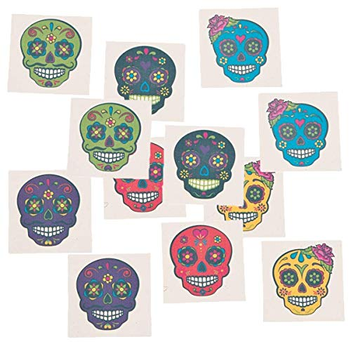 Fun Express Day of The Dead Sugar Skull Tattoos, 144 Count -