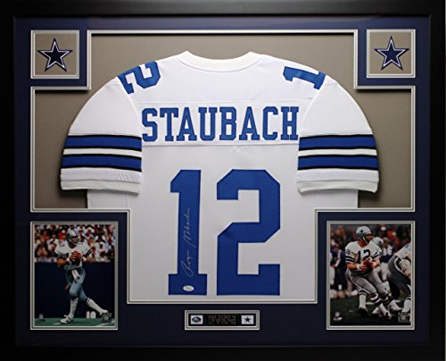 Roger-Staubach-Autographed-and-Framed-White-Cowboys-Jersey-Auto-JSA-COA-Free-Shipping