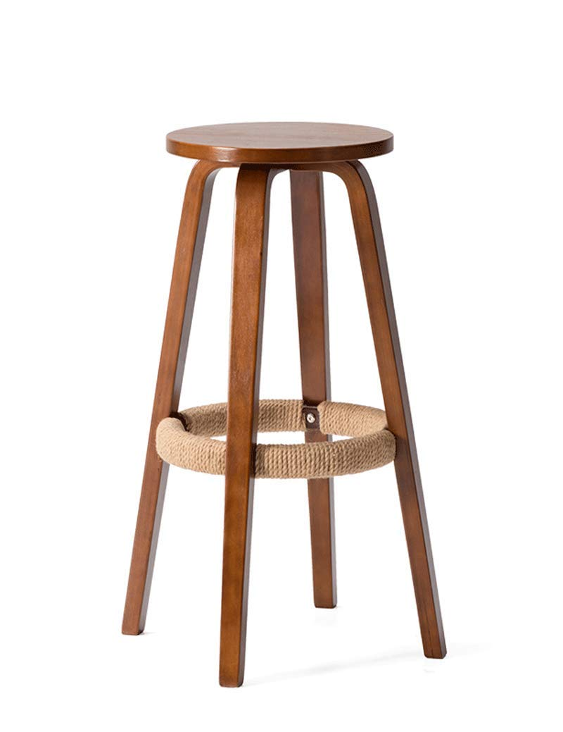 B Solid Wood Bar Chair Round High Stool Bar Stool Home Chair Coffee Mobile Phone Shop Stool Hemp Rope (color   A)