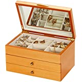 Wooden Drawer Mele Jewellery Box with Rose Patterned Lid Design