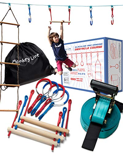 Why Choose Ninja Warrior Training Equipment Kids 50' Feet | W/ Ladder | The Perfect Outdoor Ninja Li...