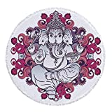 iPrint Thick Round Beach Towel Blanket,Elephant,Elephant Figure over Floral Colorful Mandala Pattern Eastern Faith Symbol Print Decorative,Pink Grey,Multi-Purpose Beach Throw
