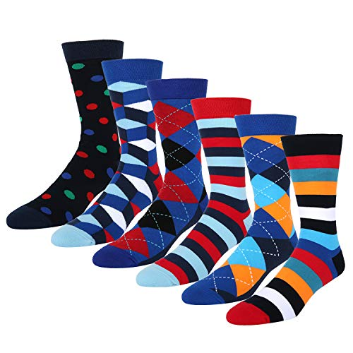 6 Pack Colorful Funky Argyle Dress Crew Sock, Classic Cotton Casual Office Cotton - Men Diamond Socks