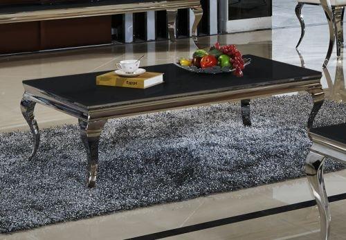 Couchtisch Aura Wohnzimmer Designer Luxus Tisch Büro Edelstahl Glas Barock Chrom Glasplatte Schwarz, Couchtisch Größe 130 x 70