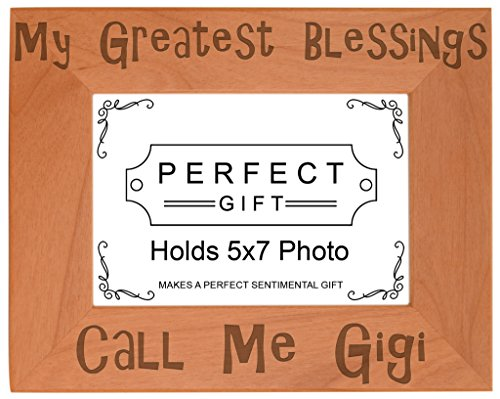 ThisWear Gift Grandma Blessings Call Me Gigi Natural Wood Engraved 5x7 Landscape Picture Frame Wood