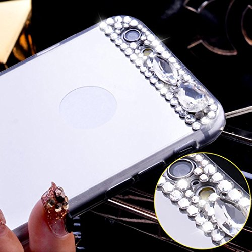 For iPhone 6/6S Plus 5.5inch Sunfei ®Bling Diamond Mirror Back TPU Soft Case Cover Silver o98ts5Z2v