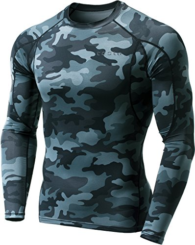 TM-MUD11-MDG_Medium Tesla Men's Long Sleeve T-Shirt Baselayer Cool Dry Compression Top MUD11