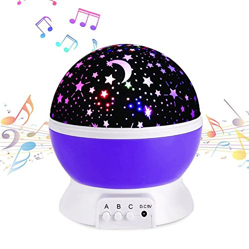 Projection Lamp Music Light Rechargeable Stars Projector Warm Night Lamp,Rotating and Changing 9 Colorful Light With 12 Soft Songs,Best Lamp for Babies Children, Nursery room Purple