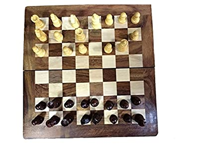 Xmas or Thanks Giving Day Presents, 10 Inch Chess Game with Storage for Pieces within the Wooden Board, Folding Wooden Chess Set, Brown Color Wooden Tournament Chess Board