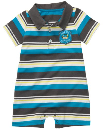 Carter's Baby Boys Polo-style Romper (6 Months, Blue/Grey) (Boys Polo Style Romper)