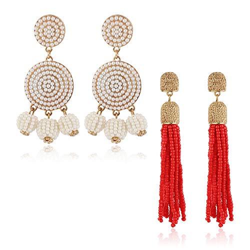 ORAZIO 2 Pairs Beaded Tassel Earrings For Women Girls Long Fringe Drop Dangle Earrings