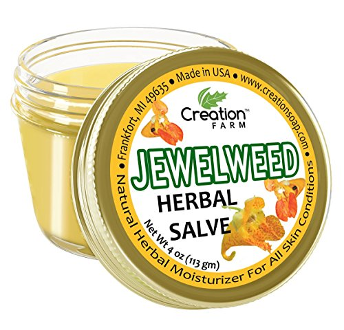 Creation Farm Jewelweed Balm, Poison Ivy Remedy, Herbal Tea Tree Salve Jar 4 oz Sensitive Skin Treatment Helps Tattoo's, Soothes Rashes, Skin Fungus, No Gluten, No Parabens, No Soy, No GMO (Best Remedy For Poison Ivy Rash)