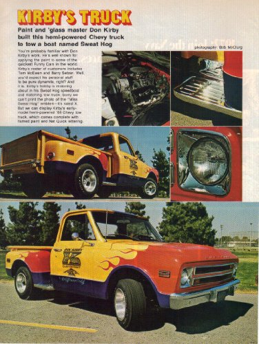 (Magazine Article: Don Kirby, Hemi-powered 1968 Tow Truck, Flamed Paint, Nat Quick Lettering, 'Kirby's Truck' )