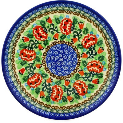 Polish Pottery Plate 8-inch Peony Dance UNIKAT by Polmedia Polish Pottery