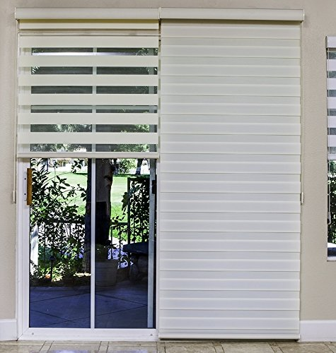 amazoncom premium combi shade for french and sliding glass door zebra dual shades fabric soleil diy 1 shade 24w x 84h inch white home kitchen - Blinds For Sliding Glass Door