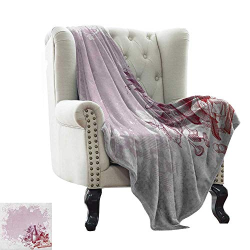 Anyangeight Wine, Blankets King Size, Grunge Abstract Frame Bunch of Grapes Leaves Country Drinks Food Picnic Concept, Custom Design Cozy Flannel Blanket, (W90 x L110 Inch Lilac and White