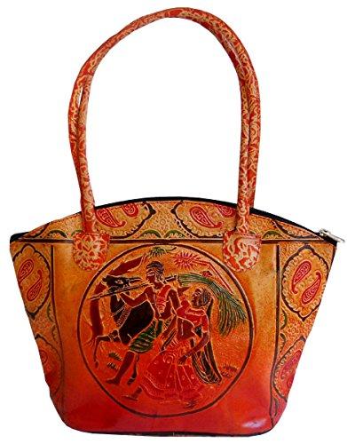 Indian Farmers Design Ethnic Hand Embossed Shantiniketan Leather Indian Hand Bag