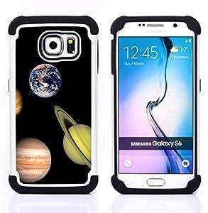 - solar system planets saturn earth mars jupiter/ H??brido 3in1 Deluxe Impreso duro Soft Alto Impacto caja de la armadura Defender - SHIMIN CAO - For Samsung Galaxy S6 G9200