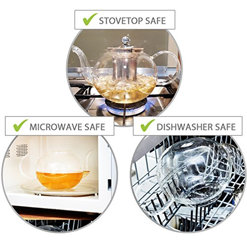 Stovetop Safe Tea Kettle, Holds 4-6 Cups, Glass Teapot with Infuser Set, Extra 4 Double Wall 80ml Cups, Removable Stainless Steel Strainer, Microwave, Dishwasher Safe, Blooming & Loose Leaf Tea Pot by Kitchen Kite (Image #2)