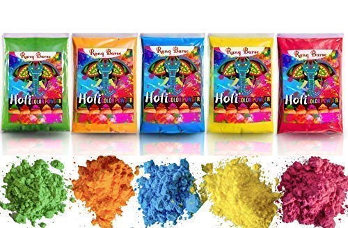 RANG BARSE (TM) Holi Color Powder - Gender Reveal,Color Fun Race,Color War,Rangoli Powder,Gulal -Premium Colors Soft ON Skin,Non Toxic & Easy Clean -5 Packs 100 GMS x Red,Green,Yellow,Blue,Orange (Best Smoke Grenades For Photography)