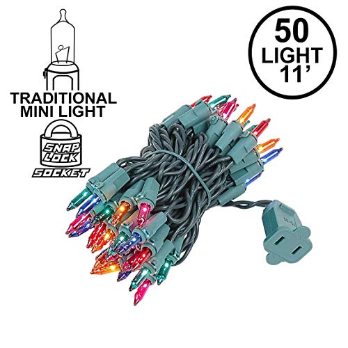 - Novelty Lights 50 Light Multi Christmas Mini String Light Set, Green Wire, Indoor/Outdoor UL Listed, 11' Long