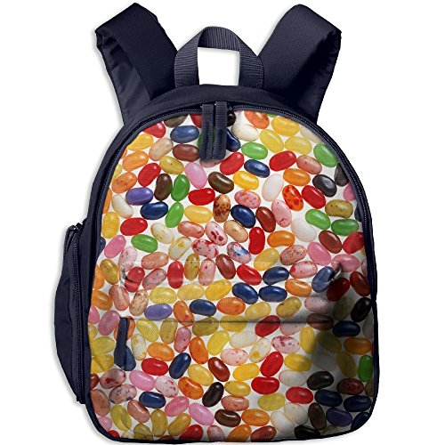 (Static Jelly Beans Printed Oxford School Bag Children Double Zipper Closure Travel With Front Pockets)