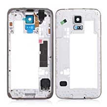Original Middle Frame Plate Back Housing Bezel Frame Camera Cover For Samsung Galaxy S5 SV i9600 G900 (Black)