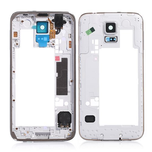e Plate Back Housing Bezel Frame Camera Cover for Samsung Galaxy S5 SV i9600 G900 (Black) ()