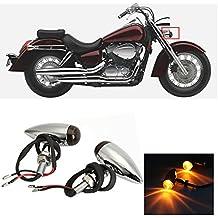 INNOGLOW Motorcycle Turn Signal Lights Bulb Amber Universal Lens Chrome Indicators Blinkers Lights for Custom Honda Suzuki Yamaha Kawasaki Harley Davidson Choppers Cruisers (2 PCS)