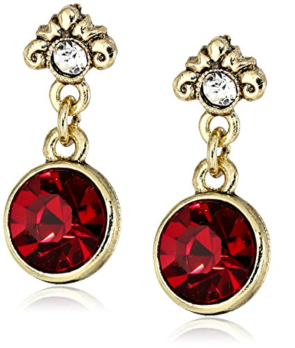 1928 Jewelry Gold-Tone Ruby Red and Clear Crystal Drop Ea...