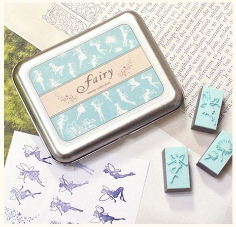 Wooden Rubber Stamp Box - 9 kinds Korea DIY Woodiness rubber stamp- fairy Angel (Fairy Iron)