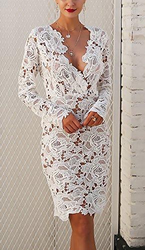 Bianco Lunga Vestiti Giovane V Ragazza Moda Vestito Cocktail Profondo Donna Clubwear Abiti Primavera Elegante Pizzo Hollow Manica Abito Partito Corti Bianca Trasparente Chic r0qRSxr