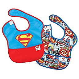 Bumkins DC Comics Waterproof SuperBib 2 Pack, Superman Icon (6-24 Months)