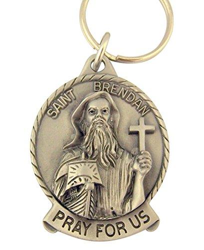 Medal Patron Brendan Saint - Pewter Catholic Saint St Brendan Medal Key Chain, 2 Inch
