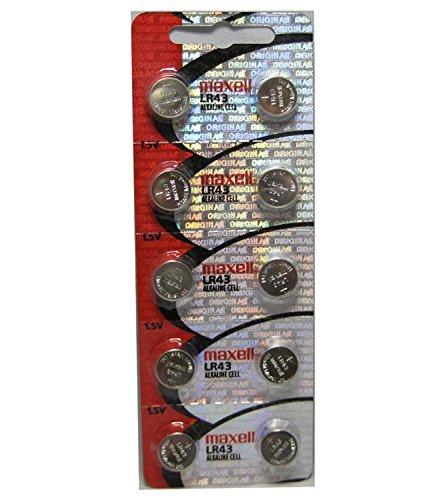 Maxell Alkaline Button - 10pcs Maxell LR43 1.5v Alkaline Button Batteries also known as AG12 301 386 L1142 LR1142 186 D301 D386