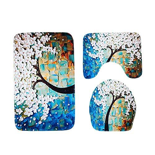 - Wffo 3pcs Non-Slip Suction Grip Bath Mat, Bathroom Kitchen Carpet Doormats Decor (Blue)
