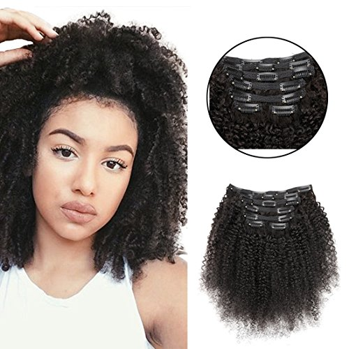 "Search : African American Afro Kinky Curly Clip in Hair Extensions Human Hair Double Weft Top Grade 7A Brazilian unprocessed Virgin Hair Clip ins 7Pieces/set (70g 10"", Natural Black K C)"