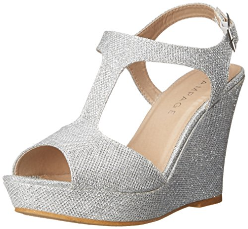 Rampage Women's Candelas Dress Platform Wedge Sandals 7.5 Silver Glitter Mesh