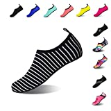 Mens Womens Water Shoes Barefoot Beach Pool Shoes Quick-Dry Aqua Yoga Socks for Surf Swim Water Sport (Zebra, 38/39EU)