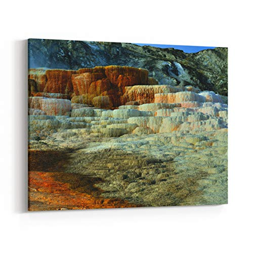 Rosenberry Rooms Canvas Wall Art Prints - Mound Terrace in Mammoth Hot Springs Area of Yellowstone National Park, Wyoming (10 x 8 inches)