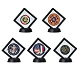 "5-pack Challenge Coin Display Stand Box (2.7 x 2.7"", Black), Medallion Coin Specimen Jewelry Bracelet Earrings Rings Show Case, Double Sided Floating Display Frame"