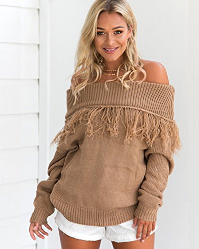 Sweater Sweatshirt Chandail Manches Tassel Nue Chic FemmeAutomne Epaule Tricot Hiver Pullover Jumpers Minetom Longues Hauts Tricot OqPSW