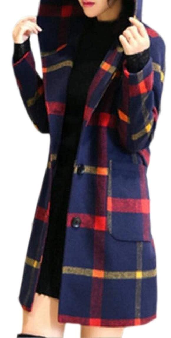 LKCEN-CA Women's Pea Coat Windbreaker Long-Sleeved Wool Hood Checkered Coat
